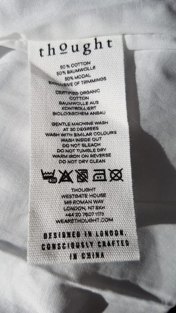 Thought Clothing Care Label
